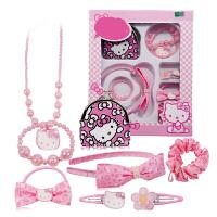 Hello Kitty凯蒂猫儿童发卡头绳套装女童发饰头饰头箍发圈发绳情人节礼物 粉红色