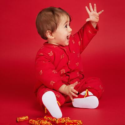 【网易严选 顺丰配送】新生儿金猪礼盒 庆贺新年唐装套装 空气夹层唐装3件套 百日周岁礼盒