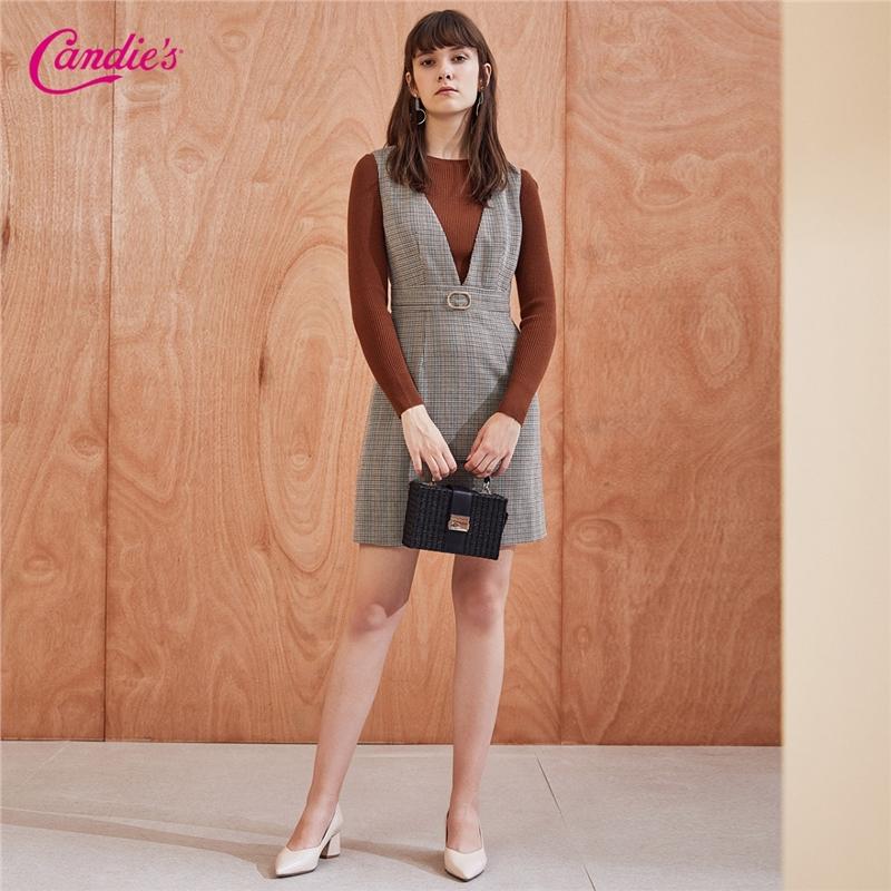 【限时秒杀价:366】毛针织衫连衣裙两件套女新款秋长袖毛衫格子裙子时尚