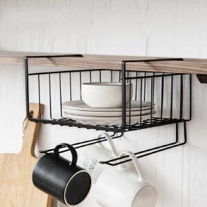 幽咸家居创意挂架 收纳储物架 厨房置物架 衣柜隔板下挂篮挂架 书架办公桌下挂架子
