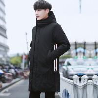 冬季新款男士中长款羽绒服加厚连帽韩版修身青年潮流字母刺绣外套