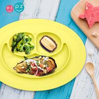 笑脸餐垫盘宝宝分格餐具趣味餐盘 儿童硅胶餐盘mini一体式