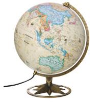 博目地球仪30cm中英文政区古典立体地球仪(立体地形欧式古地图设计内置LED灯玫瑰花瓣支架造型) 北京博目地图制品有限责