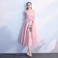 姐妹团伴娘服2018新款冬季粉色韩版显瘦中长款结婚晚礼服裙女年会 粉色中长款 B款
