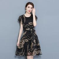 夏装新款唯品会圆领印花连衣裙修身显瘦黑色A字裙