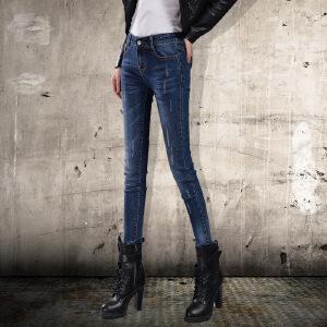 SOOSSN 2018夏季新款牛仔裤女长裤小脚裤韩版修身显瘦弹力铅笔裤潮16102