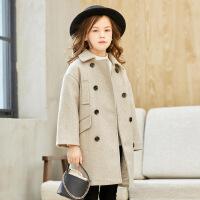 女童外套儿童秋冬装2018新款韩版洋气中大童装长款加厚毛呢子大衣
