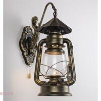 中式怀旧马灯复古创意led仿古煤油灯过道户外防水门口工业风壁灯 伞帽
