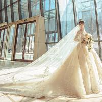 婚纱礼服2018新款新娘结婚公主一字肩显瘦长拖尾优雅宫廷大码 长拖尾款