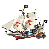 儿童智力拼装插积木塑料男孩玩具加勒比海盗船系列海上霸王号模型