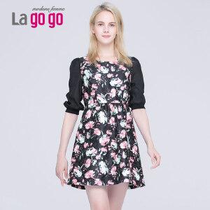 lagogo拉谷谷秋季新款中长款裙子显瘦印花修身五分泡泡袖连衣裙