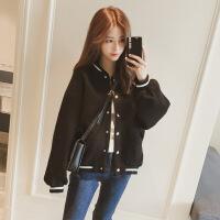 2018新款加厚棒球服女秋装韩版bf宽松毛呢外套女冬短款小个子夹克