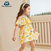 【2件3.8折】迷你巴拉巴拉女童连衣裙新款夏季时尚碎花露肩连衣裙韩版