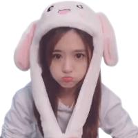可爱毛绒兔子耳朵会动的帽子女孩娃娃少女心生日礼物