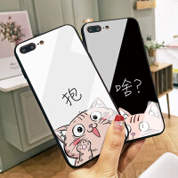 猫咪文字苹果7plus手机壳iPhone6S可爱卡通7个性玻璃X全包软硅胶边8情侣保护套8plus个性创意女款潮牌六6