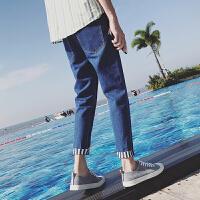 韩版男士休闲修身小脚牛仔裤青少年学生裤子潮男九分裤男装铅笔裤