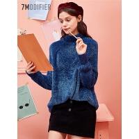【3折到手价:78】新款韩版长袖针织衫潮学生套头高领宽松海马毛毛衣上衣女