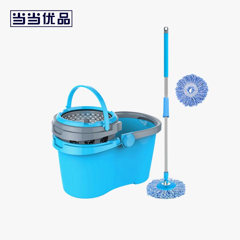 当当优品 可拆卸不锈钢脱水篮双驱动旋转拖把 蓝色(含两个拖把头)当当自营 一桶多用去掉脱水篮可当水桶使用 桶内清洗方便 底部出水口设计