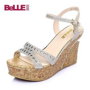Belle/百丽夏季PU坡跟女凉鞋6A-33BL6