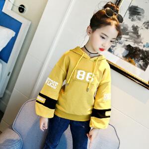 乌龟先森 卫衣 女童字母喇叭袖套头衫秋季韩版新款儿童时尚个性舒适百搭中大童T恤