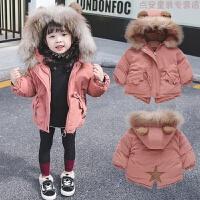 2018冬装新款婴儿洋气女宝宝加厚棉衣棉袄女童羽绒中长款外套 桔色 真毛领