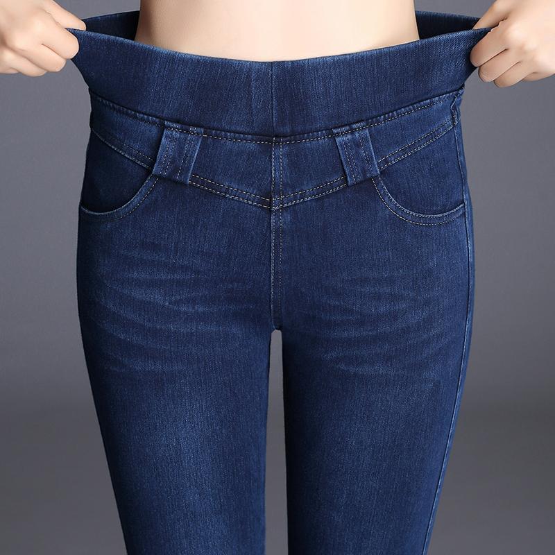 春装新款大码高腰牛仔裤女2019新款紧身弹力小脚裤保暖松紧腰