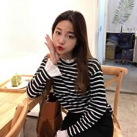秋冬女装韩版学院风百搭条纹木耳边拼接长袖T恤学生显瘦打底衫女