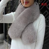 狐狸毛围巾围脖真狐狸毛领子加厚长款纯色天女皮草围巾