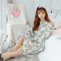 2018新款睡裙女春秋季长袖韩版睡衣女莫代尔可爱卡通长款长裙家居服可外穿