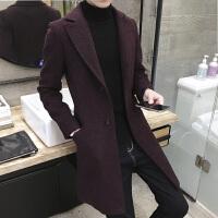 秋冬新款雪花呢风衣男士中长款大衣外套 韩版修身 风衣