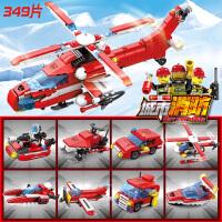 高积木男孩子直升飞机拼装玩具益智军事