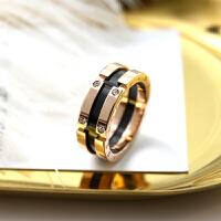 钛钢玫瑰金字母水晶黑色陶瓷彩金女时尚潮人情侣戒指环