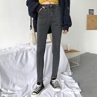 牛仔裤女长裤水洗做旧chic大口袋铅笔裤女装韩版春装显瘦小脚裤子