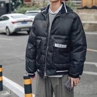 冬季新款青少年加厚休闲棉服外套韩版潮流个性男士立领棒球服棉衣