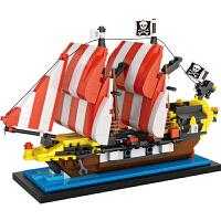 小颗粒积木 黑海梭鱼海盗船mini颗粒儿童益智拼装玩具拼插组装
