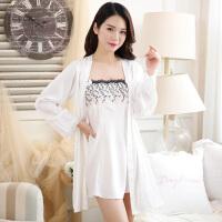 韩版丝绸睡衣女夏季性感吊带睡裙睡袍两件套装冰丝家居服春秋薄款