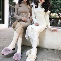 春季新款韩版蕾丝拼接高领长袖连衣裙修身百搭气质中长款打底裙女