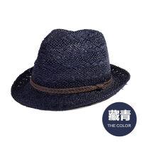 帽子男夏天韩版潮礼帽时尚小礼帽爵士帽大沿休闲沙滩帽草帽 均码(约58CM)