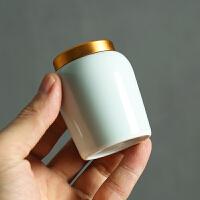 茶�~罐青瓷便�y陶瓷密封迷你存茶罐茶罐陶瓷罐普洱茶�~罐小�