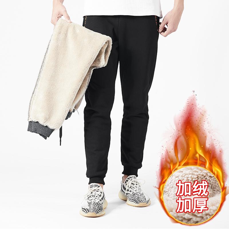 加绒加厚羊羔绒休闲裤男保暖外穿运动裤小脚裤8XL裤子宽松长裤K669