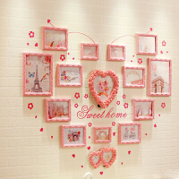 心形 照片墙 相框墙 实木相片墙组合创意北欧个性