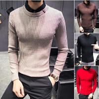 男士毛衣秋季韩版潮流男生假两件针织衫衬衫领紧身毛线男
