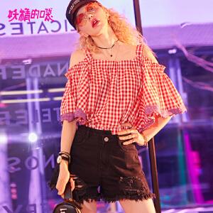 妖精的口袋新款露肩短袖chic欧货娃娃衫衬衣女