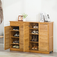 简易经济型省空间家用组装女鞋架实木门厅柜