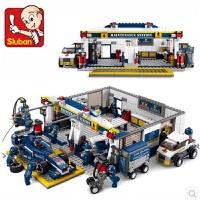 快乐小鲁班拼装积木塑料拼插积木F1方程式赛车蓝光运输车男孩玩具儿童节礼物