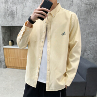 纯色衬衫男长袖韩版潮流衣服2020春秋季新款春装上衣服衬衣外套男