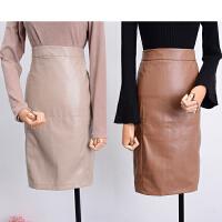C0FSK30秋冬韩版新款高腰后中拉链开叉半身裙潮