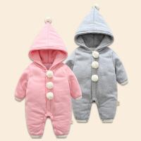 一岁宝宝冬装女童连体卫衣婴儿外出服0-12个月出生宝宝衣服新生儿