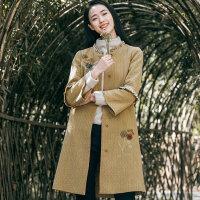 布符2018秋冬新款复古宽松个性外套女中长款圆领长袖气质优雅大衣