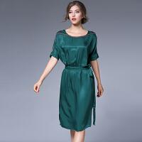 欧洲站女装气质一字肩订珠系腰带修身显瘦欧美连衣裙中裙